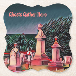 'Ghosts Gathering' Lit  Graveyard Tombstones Paper Coaster