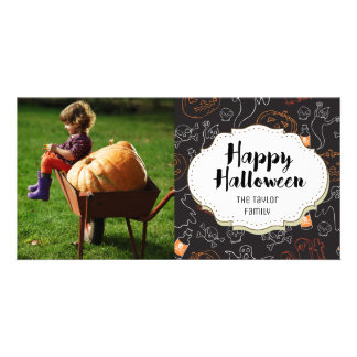 Ghosts Graves Skulls Halloween Picture Photo Card