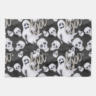 Ghosts Halloween Pattern Kitchen Towel