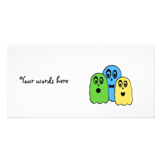 Ghosts in green yellow blue photo greeting card