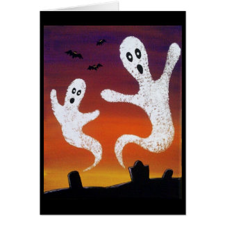 Ghosts in the Graveyard Halloween Greeting Card