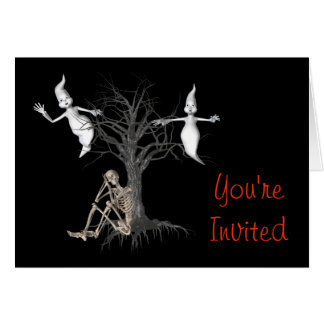 Ghosts Skeleton Funny Halloween Party Invitation