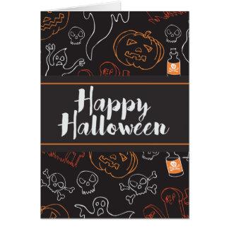Ghosts Skulls RIP Graves Happy Halloween Card