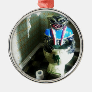 Ghoulies Retro 80's Movie Silver-Colored Round Ornament