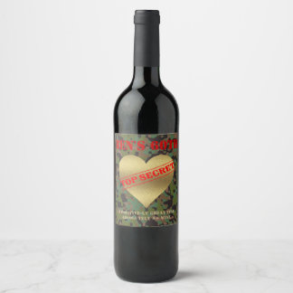 GI Camouflage Party Hearty Wine Labels