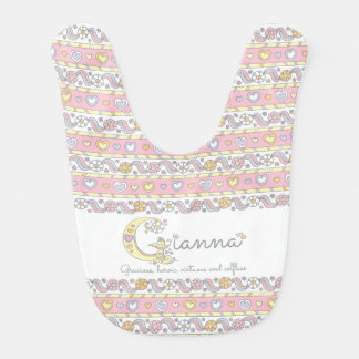 Gianna name and meaning hearts pattern baby bib
