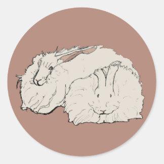 Giant Angora Rabbits Classic Round Sticker