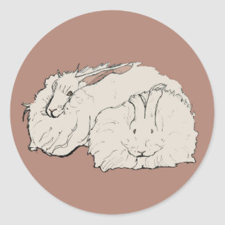 Giant Angora Rabbits Round Sticker