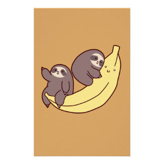 Giant Banana Sloths Personalized Stationery
