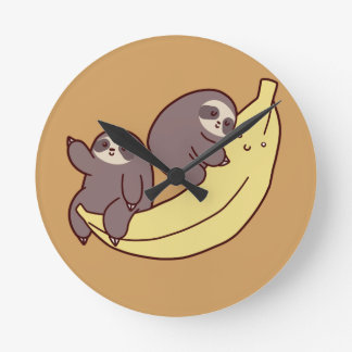 Giant Banana Sloths Round Clock
