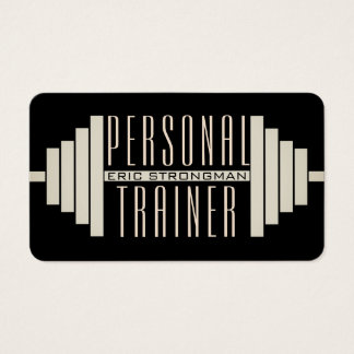 Giant barbell black business card