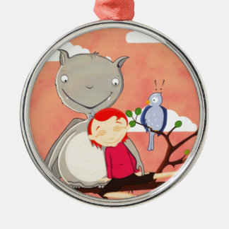 Giant Bat and girl on tree branch Silver-Colored Round Ornament