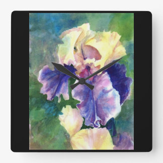Giant Bearded Iris Square Wall Clock