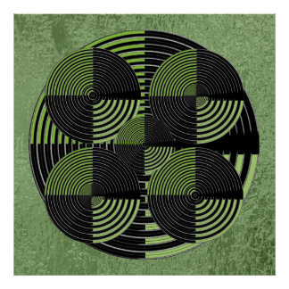 Giant Black n Green Silver  Live Chakra Mandala Poster