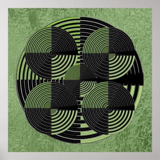 Giant Black n Green Silver  Live Chakra Mandala Print