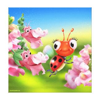 Giant canvas print little Ladybug & Snap Dragons