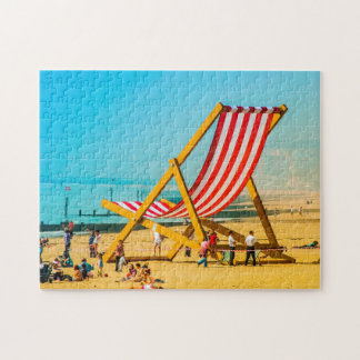 Giant Deck Chair on  Bournemouth Beach. Jigsaw Puzzle