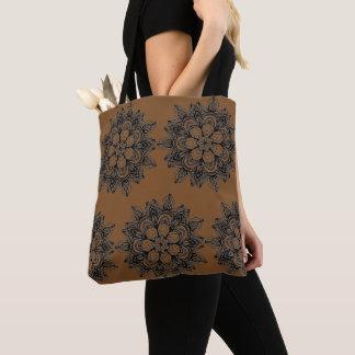 Giant floral design on deep gold tote bag