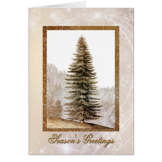 Giant Gold Christmas Tree Holiday Greeting Card