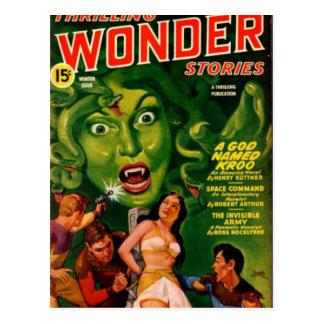 Giant Green Snake Woman Postcard