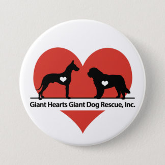 Giant Hearts Giant Dog Rescue Logo 3 Inch Round Button