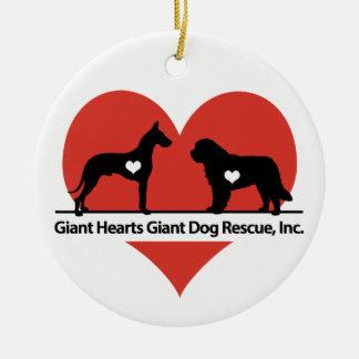 Giant Hearts Giant Dog Rescue Logo Ceramic Ornament