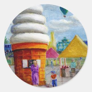 Giant Ice Cream Cone Carnival Landscape Round Sticker