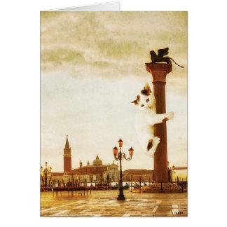 Giant Kitten in Venice Card
