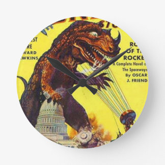 giant Lizard Monster Round Clock