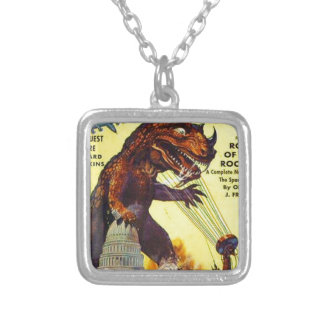 giant Lizard Monster Silver Plated Necklace