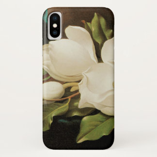 Giant Magnolias on a Blue Velvet Cloth by MJ Heade iPhone X Case