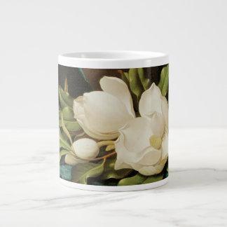 Giant Magnolias on a Blue Velvet Cloth by MJ Heade Large Coffee Mug