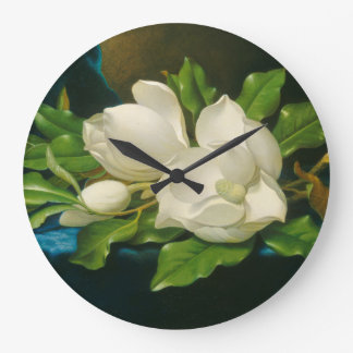 Giant Magnolias on a Blue Velvet Cloth Large Clock