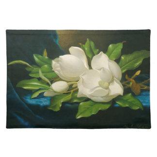 Giant Magnolias on a Blue Velvet Cloth Placemat