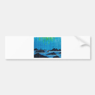 Giant misty forest by river bumper sticker