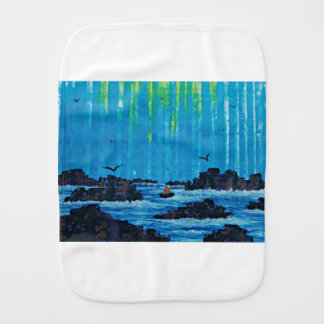 Giant misty forest by river burp cloth
