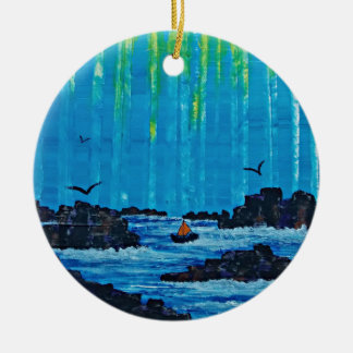 Giant misty forest by river ceramic ornament