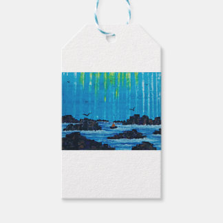 Giant misty forest by river gift tags