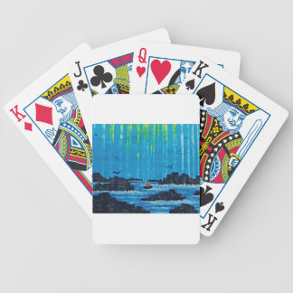 Giant misty forest by river poker deck