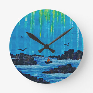 Giant misty forest by river round clock