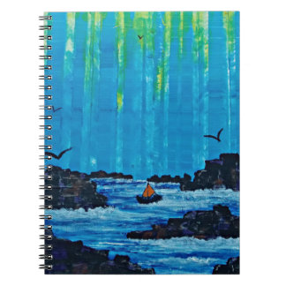 Giant misty forest by river spiral notebook