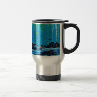 Giant misty forest by river travel mug