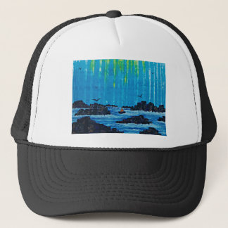 Giant misty forest by river trucker hat