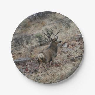 Giant mule deer buck 7 inch paper plate