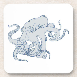 Giant Octopus Fighting Astronaut Drawing Coaster