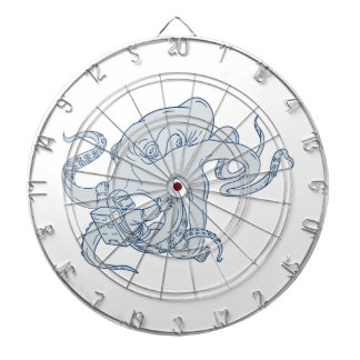 Giant Octopus Fighting Astronaut Drawing Dartboard