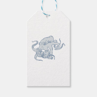 Giant Octopus Fighting Astronaut Drawing Gift Tags