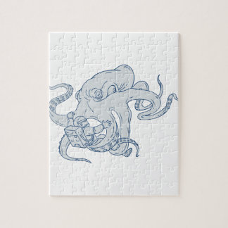 Giant Octopus Fighting Astronaut Drawing Jigsaw Puzzle