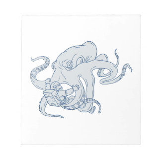 Giant Octopus Fighting Astronaut Drawing Notepad