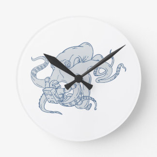Giant Octopus Fighting Astronaut Drawing Round Clock